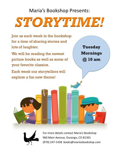Maria's bookshop presents Storytime  Tuesday mornings 10 AM
